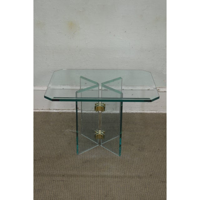 Leon Rosen for Pace Modern Glass Brass Side Table For Sale - Image 9 of 13