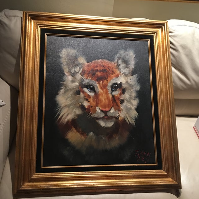 Gold Framed Tiger Cub Oil Painting - Image 4 of 8