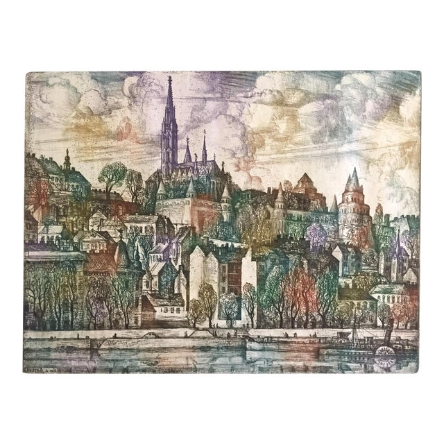 Hungary Castle Budapest, Vladimir Szabó Etching For Sale