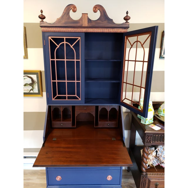 20th Century Chippendale and Sheraton Revival Slant Front Secretary Desk For Sale - Image 9 of 13