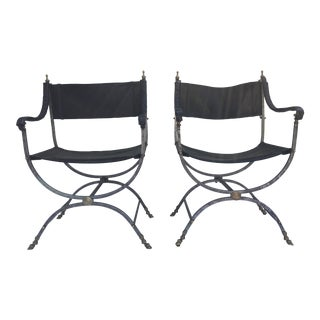 Campaign Style Chairs W/ Leather - a Pair For Sale