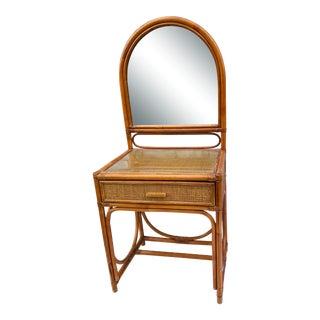 Mid Century Rattan Vanity For Sale