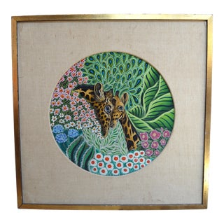 20th Century Tropical Painting of Giraffes by Edward Lupper For Sale
