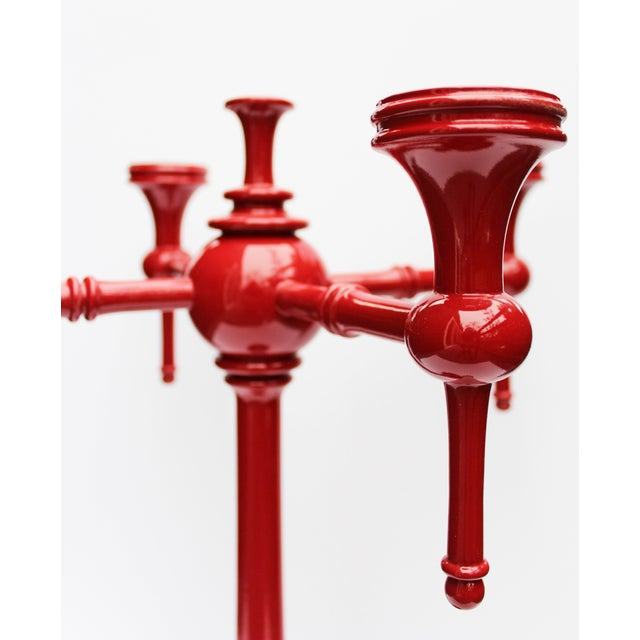 "Dunes & Duchess ""Moderne"" Red Candelabras - A Pair - Image 7 of 7"