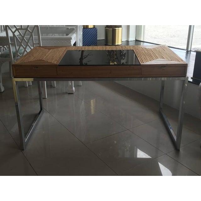 Milo Baughman Bamboo & Chrome Desk - Image 2 of 11