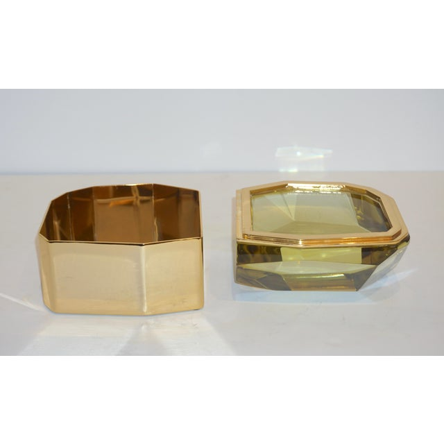 Metal Toso Italian Modern Diamond-Shaped Gold Murano Glass and Brass Jewel-Like Box For Sale - Image 7 of 10