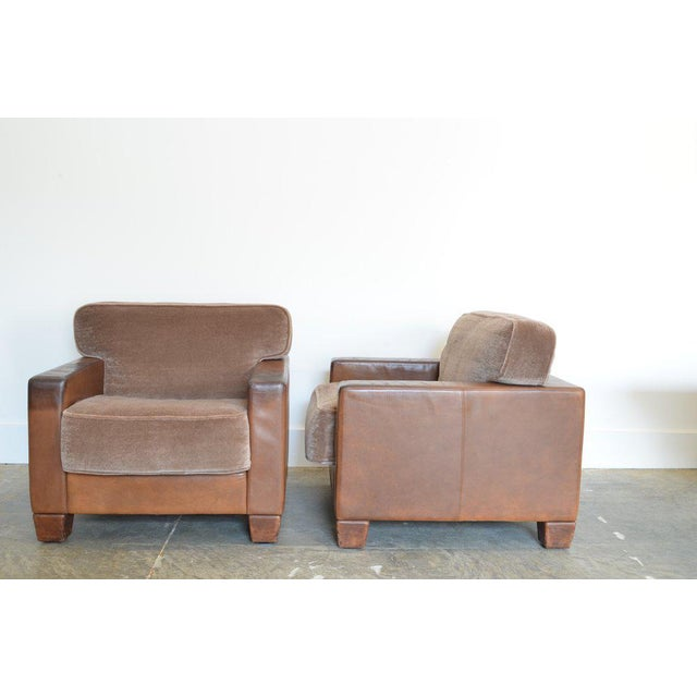 Desede Leather and Mohair Club Chairs For Sale In Phoenix - Image 6 of 6