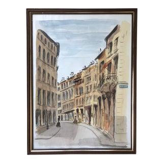 1970s Italian via and Architecture Cityscape Street Scene Watercolor in Frame For Sale