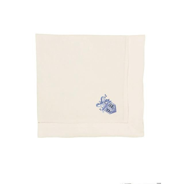 Embroidered Chinoiserie Dreidel Dinner Napkins - Set of 4 For Sale - Image 4 of 4
