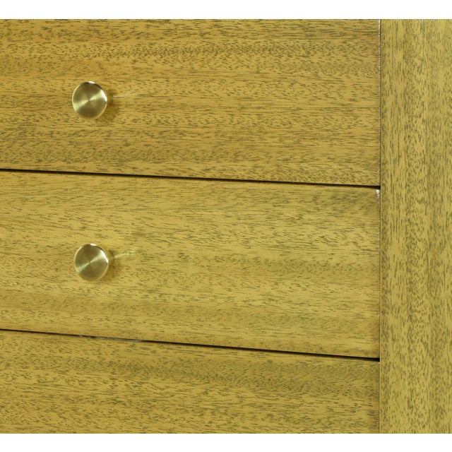 Brass Harvey Probber Bleached Ribbon Mahogany Long Cabinet For Sale - Image 7 of 9