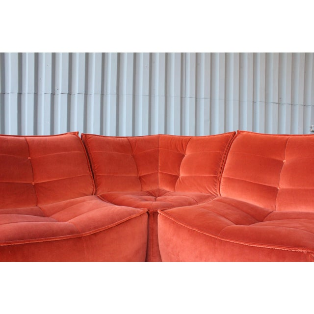 Textile Four-Piece Sectional Sofa, Italy, 1960s For Sale - Image 7 of 12