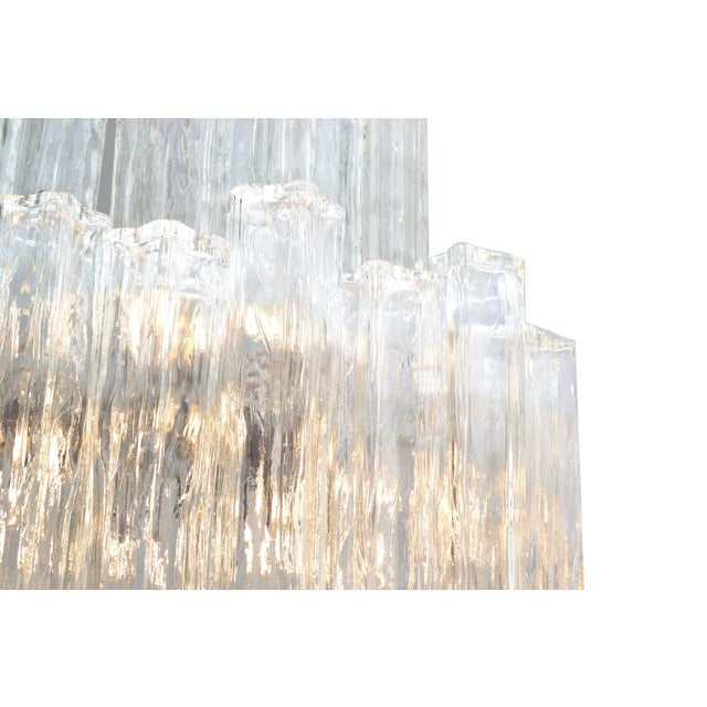 Metal Italian Mid-Century Modern Two Tier Long Crystal Tronchi Shades Chandelier For Sale - Image 7 of 9