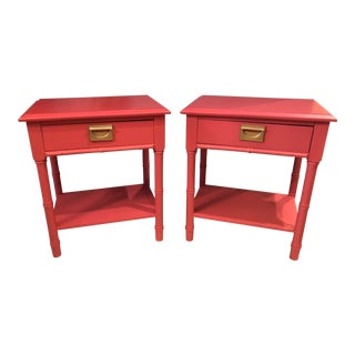 Hollywood Regency Faux Bamboo Nightstands or End Tables - a Pair For Sale