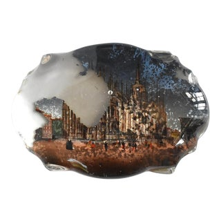 """Antique 19th-Century """" Tour"""" Italian Milan Cathedral Reverse-Painted Glass Souvenir Paperweight For Sale"""