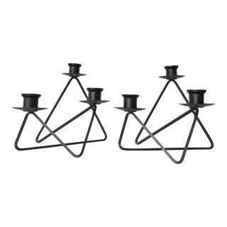 1950s Vintage Andree Ferris and Reta Shacknove Modernist Black Wire Candleholders- A Pair For Sale