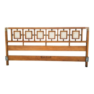Vintage MCM Cherry Wood + Brass King Size Headboard For Sale