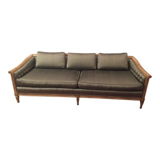 Late 20th Century Hollywood Regency Silk Upholstered Tufted Sofa For Sale