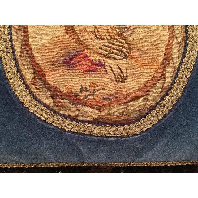 French Custom Blue Velvet Pillow Handmade With 18th Century Aubusson Tapestry, Trims and Tassels For Sale - Image 10 of 10