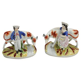 Antique English Staffordshire Boy & Girl Figurines - a Pair For Sale