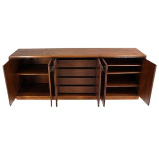 Mid-Century Modern Walnut Dresser Credenza w/ Multiple Compartments and Drawers