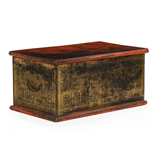 Antique Chinese Red and Gold Blanket Chest, 19th C - Image 1 of 10