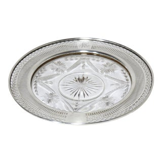 Antique Sterling Silver & Hand Cut Crystal Champagne Coaster For Sale