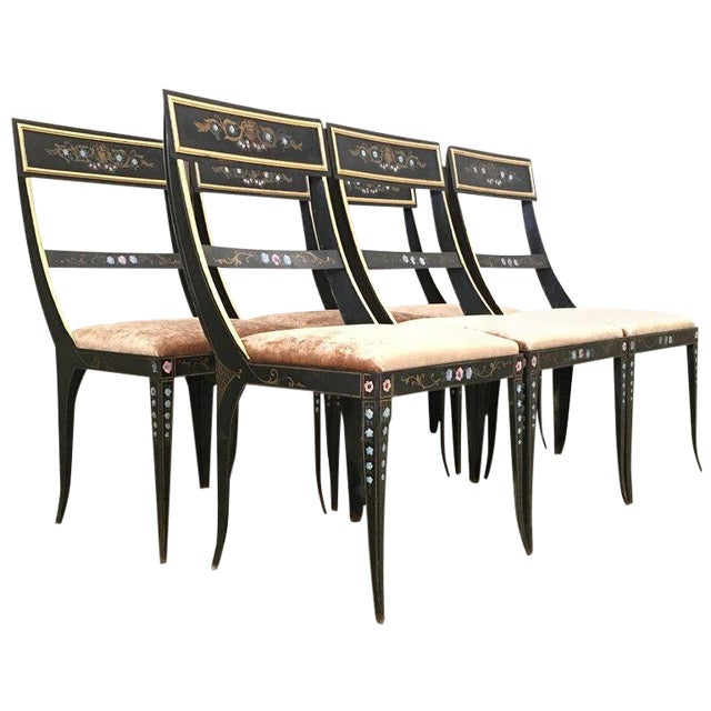 Early Regency or Gustavian Bellman Chair After Sheraton, Set of Six Iron Chairs For Sale