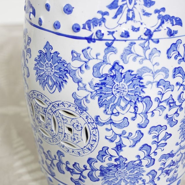 Blue & White Patterned Garden Seat For Sale - Image 4 of 4