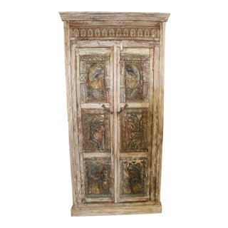 Antique Haveli Carved Rustic Armoire For Sale