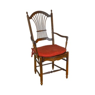S. Bent & Bros. Oak Wheat Back Arm Chair For Sale