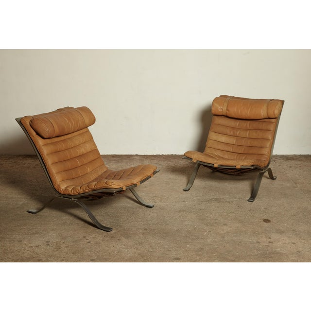 Pair of Arne Norell Tan Leather Ari Chairs, Norell Mobler, Sweden, 1970s For Sale - Image 6 of 11