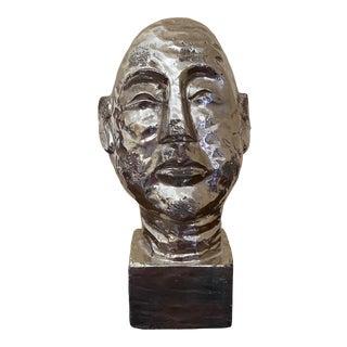 Vintage Mid-Century Modern Pottery Head Sculpture For Sale