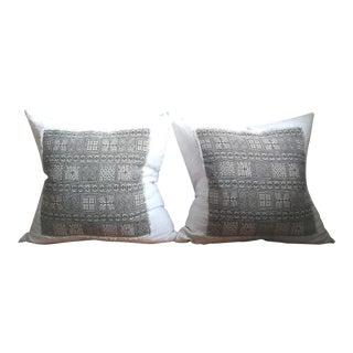 Boho Chic Linen Applique Pillows - a Pair