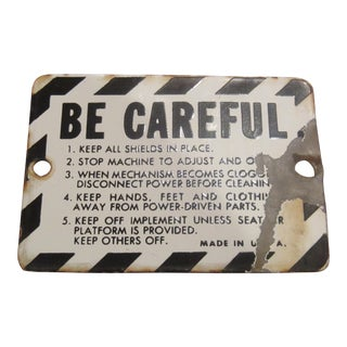 Vintage Small Porcelain Farm Tractor Warning Sign