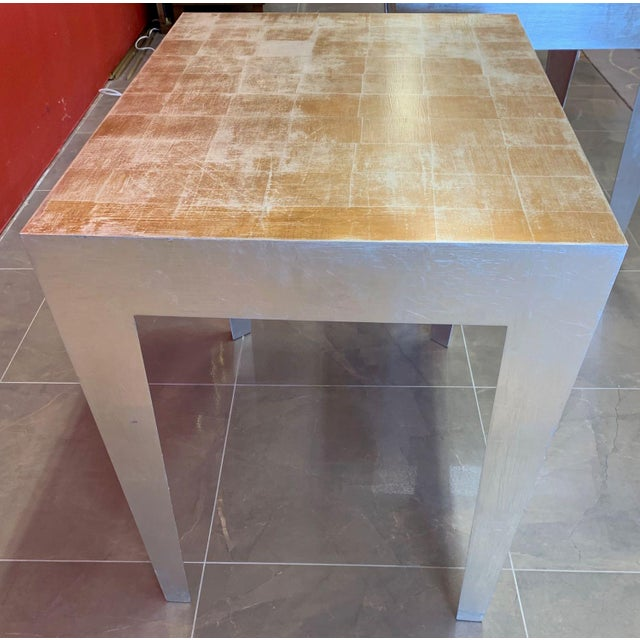 1980s Vintage Silver and Gold Leaf Accent Tables- A Pair For Sale In Tampa - Image 6 of 13