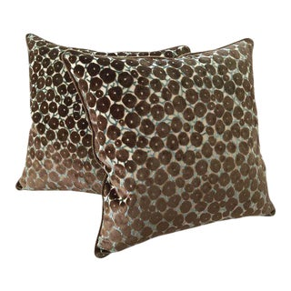 "Clarence House ""Trocadero"" Silk Cut Velvet Designer Pillows - A Pair"