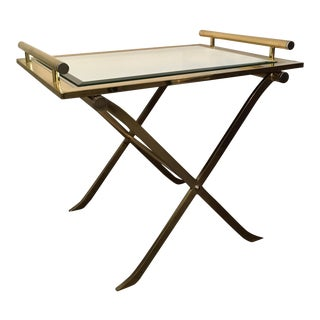 "Mid Century Modern Design Institute America Chrome, Brass & Mirror ""X"" Tray Table / Side Table"