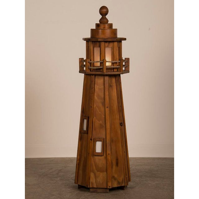 French Vintage French Handmade Wood Lighthouse Floor Lamp circa 1950 For Sale - Image 3 of 8