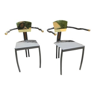 Vintage Mid Century Gold Chairs- A Pair For Sale