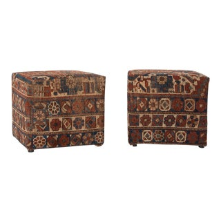 Square Vintage Rug Covered Ottomans For Sale