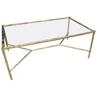 Italian Faux-Bamboo Brass Coffee Table With Glass Top For Sale