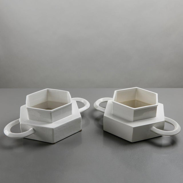 1970s Pair of Ceramic Centerpieces by Gabbianelli For Sale - Image 5 of 9