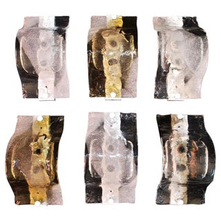 1970s Murano Glass Sconces by Mazzega - Set of 6 For Sale