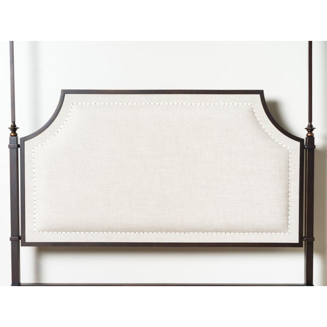 Contemporary Marshall Iron & Linen Upholstered Queen Bedframe For Sale - Image 3 of 6
