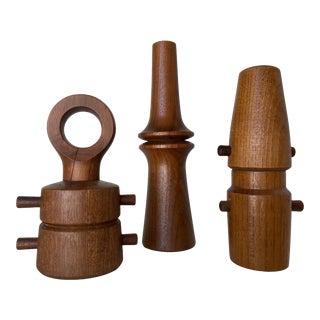 1960s Danish Modern Carved Teak Salt and Pepper Shaker Set by Jens Quistgaard - Set of 3 For Sale