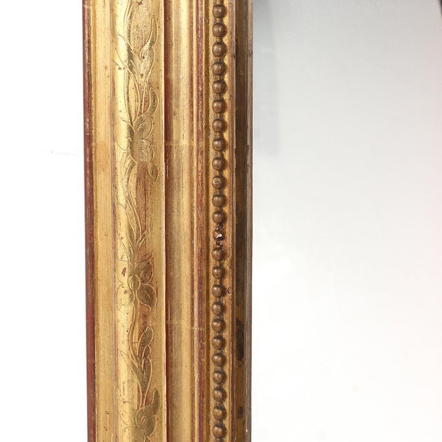 Late 19th Century 19th Century French Louis Philippe Gilt Mirror With Floral Design For Sale - Image 5 of 11