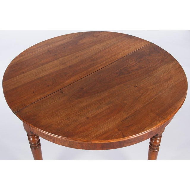 Metal Early 19th Century French Louis Philippe Demi Lune Walnut Table For Sale - Image 7 of 10