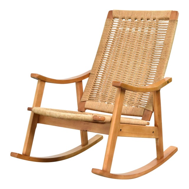 Mid-Century Hans Wegner Style Rope Rocking Chair For Sale