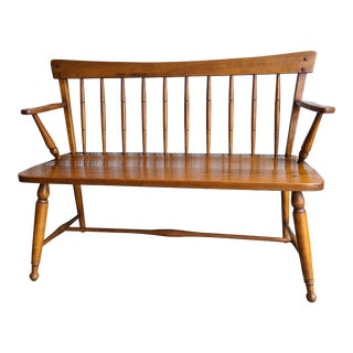 Ethan Allen Heirloom Nutmeg Maple Windsor Bench For Sale