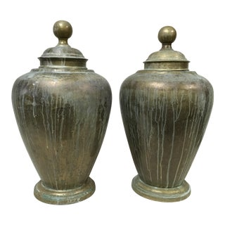 1970s Vintage Maitland-Smith Brass Urns - A Pair For Sale